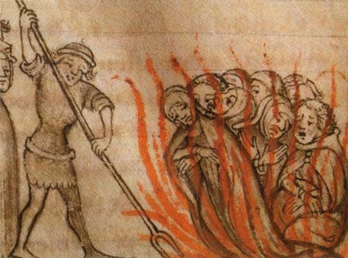 Франция. Сожжение тамплиеров, которых, вчастности, обвиняли всодомии