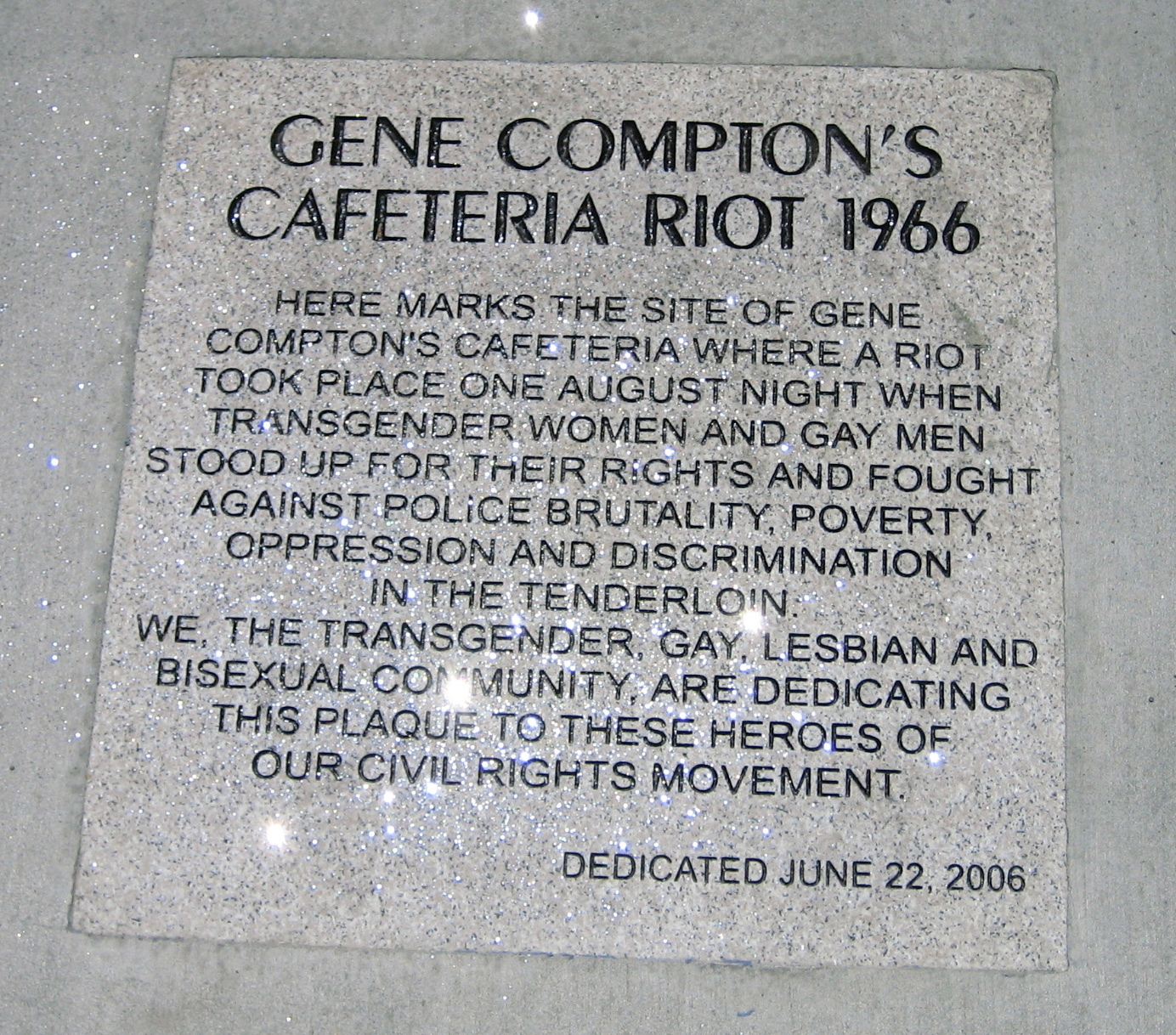 В память о бунте в кафетерия Комптона